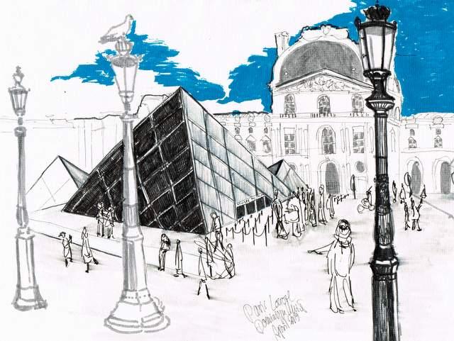 Dominique Kleiner-Louvre-2019-Urban Sketches. Buettenpapier-29x21cm-titel