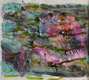 "Franziska Groszer ""Sommergewebe - I"", 2018/20, Mischtechnik auf Aquarellpapier, 21x19 cm, 310 Euro inkl. Rahmen + Passepartout"