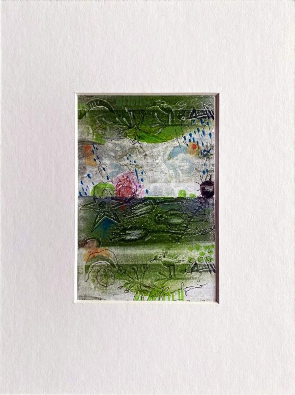 """Franziska Groszer """"Morgengrün, erträumtes Gras"""", 2020, Mischtechnik auf Papier, 8,5x13 cm, 30 Euro inkl. Passepartout"""
