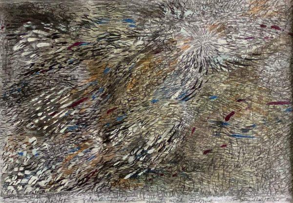 """Franziska Groszer """"Schwärme – Vögel, Fische, Staub und Sterne – IV"""", 2018/20, Feder, Tusche, Aquarell, Stifte, Gouache. 20x13 cm, 200 Euro inkl. Rahmen + Passepartout"""
