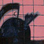 """David Baldwin, """"Alessi Wasserkocher"""", 2004, 100x80 cm, Mischtechnick auf Holz"""