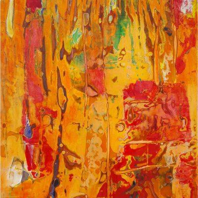 """Antje Burr, """"Reges Treiben"""", 2018, Mischtechnik auf Holz, 25 x 25 cm"""