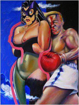 """David Baldwin, """"Ein KO!"""", 2013, 130x70cm, Mischtechnick auf Leinwand"""