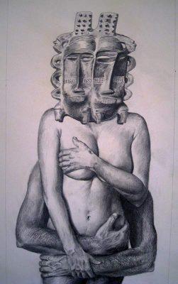 """David Baldwin, """"Eine verheiratete Frau."""", 2012, 70x40 cm, Bleistift auf Papier"""