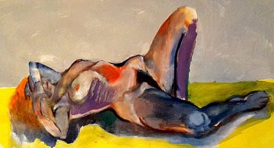 """David Baldwin, """"FKK Wochenende"""", 2018, 55 x 30 cm. Öl auf Pap"""