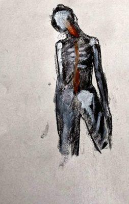 """David Baldwin """"Fig 25"""", 2020, Verschiedene Medien auf Papier, 42x28cm"""