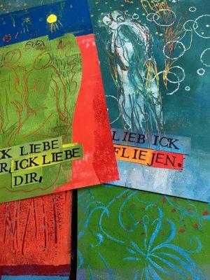 """Franziska Groszer, Heft Edition Futur zwei """"Ich liebe dir, ick liebe dir..."""" 2016/20, Druck/ Kupferstichpapier, Einband handgedruckt und gemalt, Mischtechnik, 32x32 cm"""