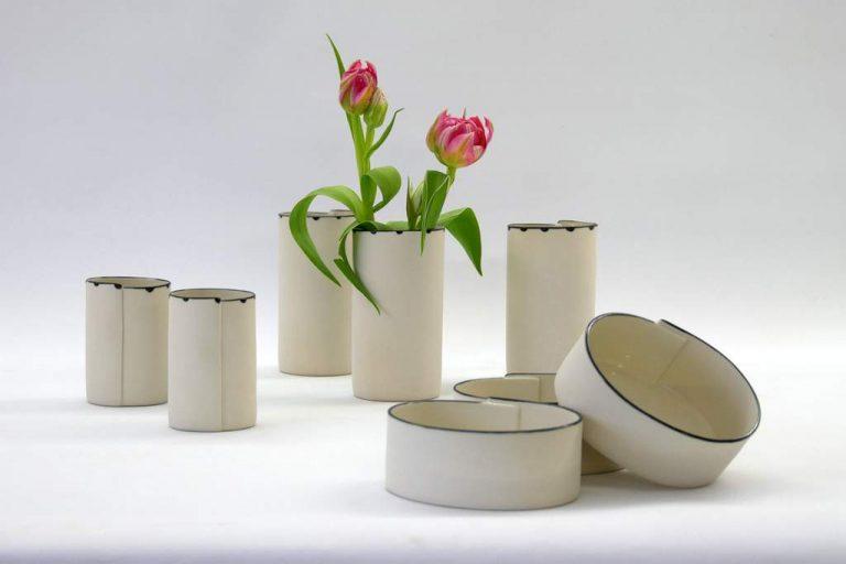 Juliane Herden, Porzellangefäße, 2018, Väschen 9 und 13 cm, Schälchen 5 cm