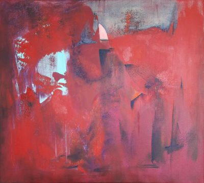 "Koki van Trotten, ""Segeln auf Erdbeerfeldern"" (2017), Acryl & Öl auf Leinwand, 90 x 100 cm"