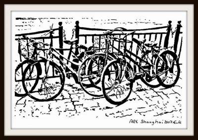 """Matthias Eule """"Alt Shanghai 2007 Fahrräder"""" 2007, Tusche / Aquarellkarton, 32x24 cm"""