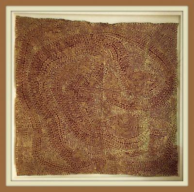 """Matthias Eule, """"Das Labyrinth der Schlangen"""", 2016, 104x 102 cm, gerahmt, Goldbronze auf Seide"""