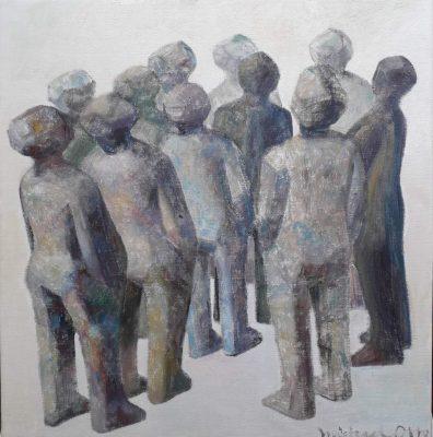 Michael Otoo-Randgruppe VII, 2018, Oelfarbe, Leinwand, 40x39