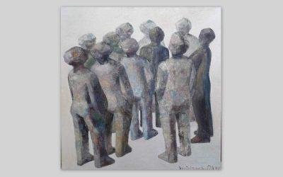 Michael Otoo-Randgruppe VII, 2018, Oelfarbe, Leinwand, 40x39-Titel