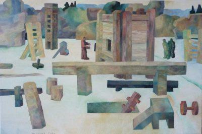 """Michael Otto, """"Trimmdich I"""", 2009, Öl auf Leinwand, 80x120 cm"""