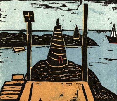 """Peter Rensch, aus Theodor Storm """"Die Stadt"""", Künstlerbuch, 2015, Handpressendruck mit 6 Farbholzschnitten, 27,5x30 cm"""