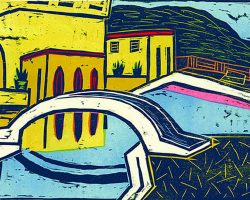 "Peter Rensch, ""Verlassener Swimmingpool"", 2020, Farbholzschnitt, 47x30 cm"