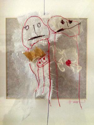 """Sabine Schuldt """"Familie"""", 2016, Textilinstallation, Schwebedarium, 50x50 cm"""