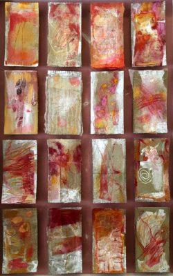 """Sabine Schuldt """"Menschwerdung groß"""", 2015, Collage, Acryl auf Pappe, 115x138 cm"""