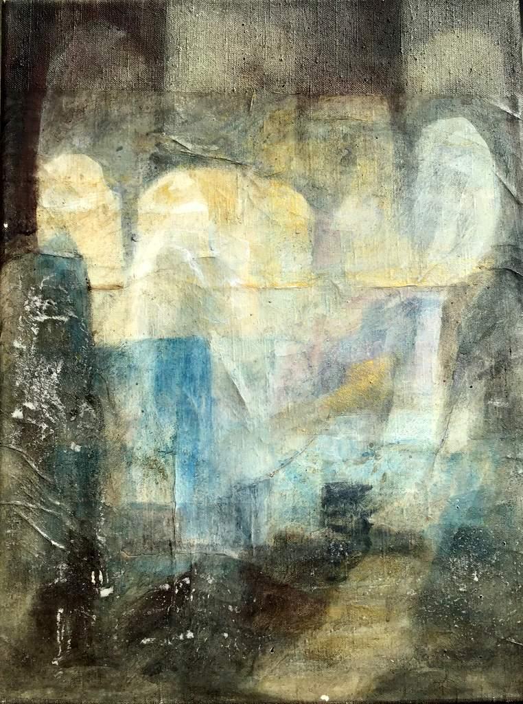 """Sabine Schuldt """"Er setzte sich in eine Eck und spielte eines seiner scöensten Lieder"""", Acryl auf Leinwand, 2017"""