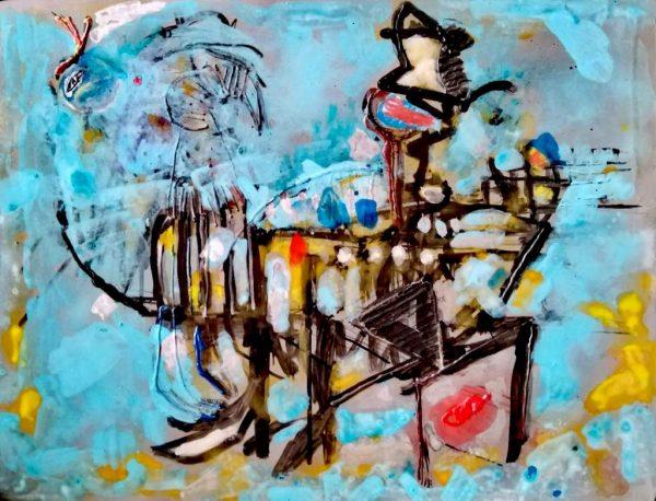 "Thomas Habendank ""Figur"", 2018, Mischtechnik auf Leinwand, 30x40 cm, 700 €"