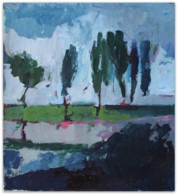 "Ute Hausfeld, Malerei: ""Landschaft – Blau"", 2011, Acryl/Tusche auf Papier, 76 x 69,5 cm"