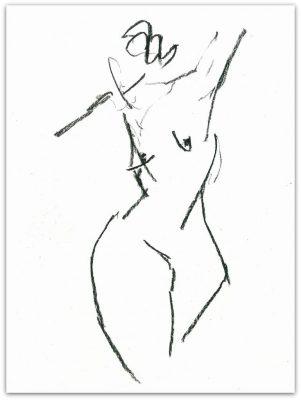 """Ute Hausfeld, Zeichnung: """"o.T."""", 2012, Kohle auf Papier, 32 x 23,5 cm"""