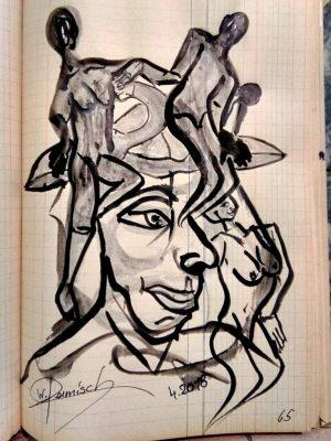 """Wolfgang Ramisch, aus dem Skizzenbuch """"Nr. 66"""", 2018, Tusche auf Papier"""