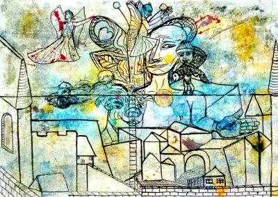 """Wolfgang Ramisch """"o.T."""", 2017, Öl und Tusche auf Papier, 29,7x21 cm"""