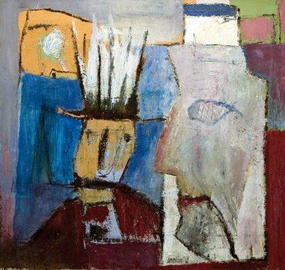 """Egon Bresien, """"Koenig und Berater"""", 2008, Acryl auf Karton, 56x56 cm"""