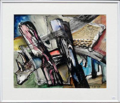 """Günter (Benno) Kiefer-Lerch """"Am Bodden"""" (2007), Mischtechnik auf Papier, 30x40 cm (mit Rahmen 40x50 cm)"""