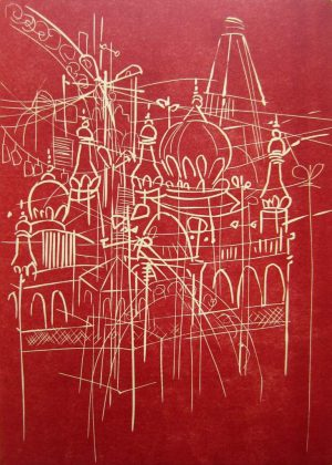 "Dagmar Hintzmann ""Unterwegs - Indische Skizzen II"", 2019, Linolschnitt, 21x29,7 cm, 180 € (inkl. Rahmen)"