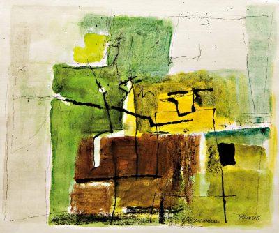 """Egon Bresien """"Das-Eisen-schmieden"""", 2015, Aquarell/Tusche, 31x37 cm"""