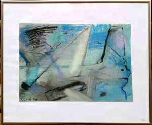 """Günter (Benno) Kiefer-Lerch, """"Blaue Stille"""" (1990), Pastellkreide auf Papier, 26x38 cm (mit Rahmen 40x50 cm)"""