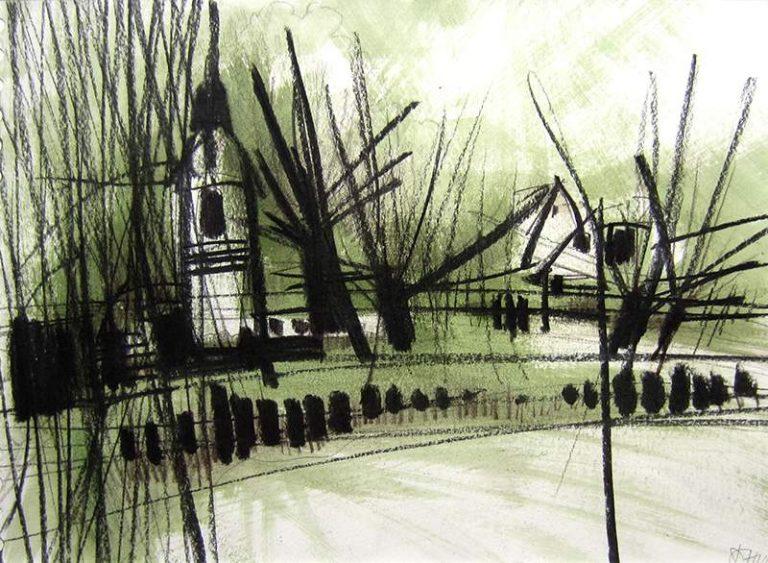"Dagmar Hintzmann ""Unterwegs - Vseradice I"", 2015, Kohle über Acryl, 24x33 cm, 230 € inkl. Rahmen"
