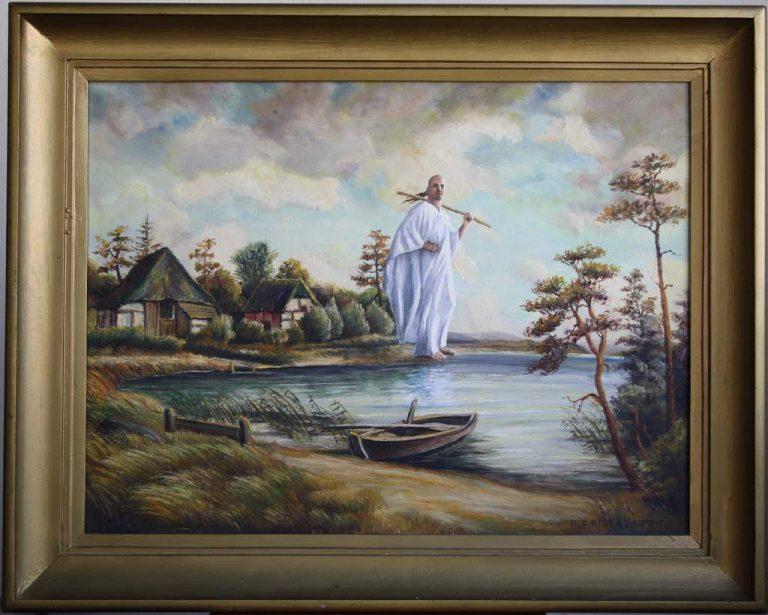 """""""Alf Ator mit Stock am windigen Ufer"""", 80x64 cm (mit Rahmen)"""
