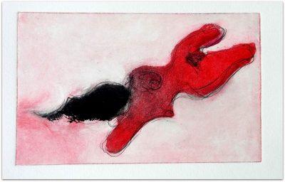 "Angelika Ludwig ""Flamma"", 2009, Farbradierung, 20x12 cm"