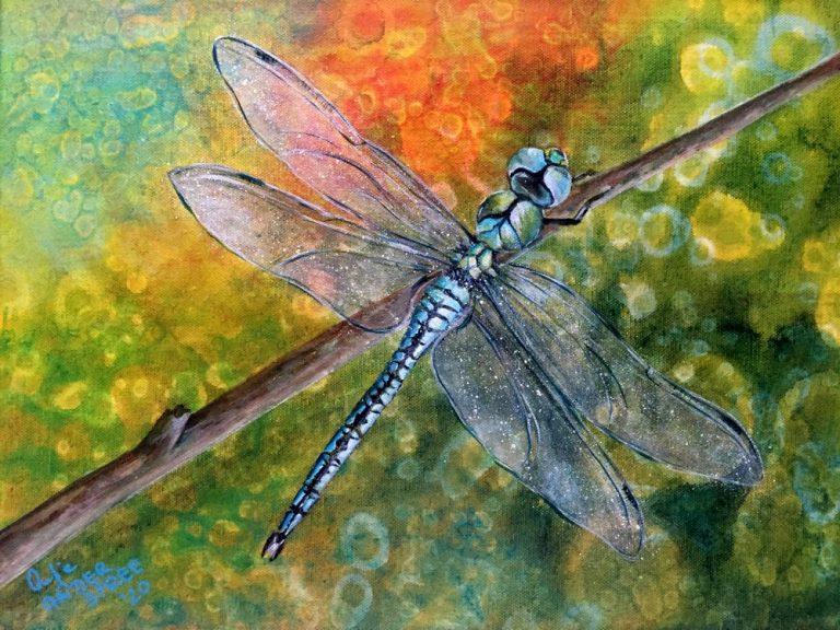 """Antje an der Spree, """"Dragon-fly 3"""", 2020, Acryl, 40x30 cm, 315 € inkl. Mwst,"""
