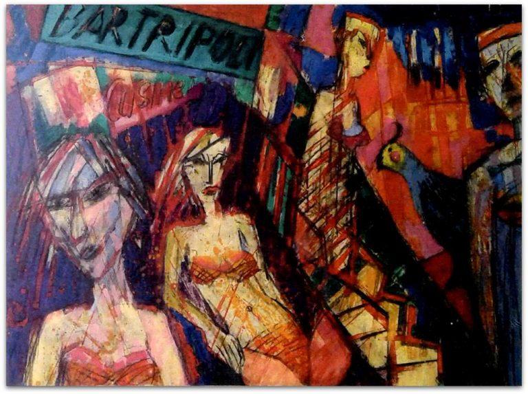 "Michael Augustinski ""Bar Tripoli"", 2017, Acryl / Kreide, 90 x 110 cm"