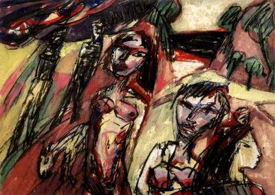 "Michael Augustinski ""Der Weg"", 2017, Acryl / Kreide, 90 x 110 cm"