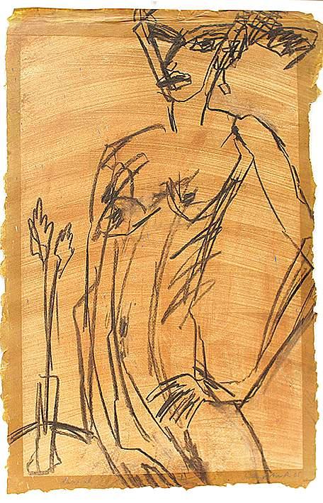"Michael Augustinski ""Hannah"", 2005, Kohle auf grundiertem Papier, 80 x 53 cm"