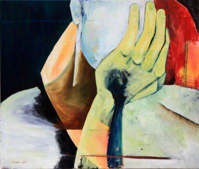 """Clara Kirschbaum """"In Gedanken"""", 2017, Acryl und Öl auf Baumwolle, 85x100 cm"""
