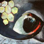 """Clara Kirschbaum """"Insight"""", 2018, Pappe, Acryl und Öl auf Malkarton,, 20x26 cm"""