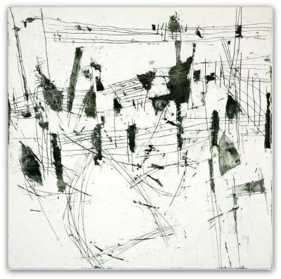 """Dagmar Hintzmann, """"Wegmarken"""", 2010, 80x80 cm, Pigment+Acryl auf Gips auf Leinwand auf Hartfaser"""