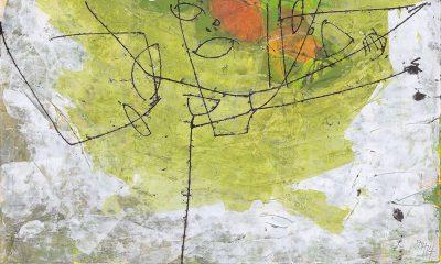 """Dagmar Hintzmann """"Hagebutten"""", 2014, 25x40 cm, Monotypie über Acryl"""