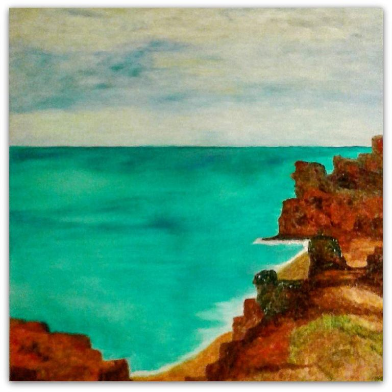 "Detlef Kapplusch, ""Atlantikküste"", 2017, Acrylmalerei auf Fliese, 33x25 cm"