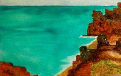 Detlef Kapplusch-Atlantikkueste-2017-Acrylmalerei auf Fliese-Titel