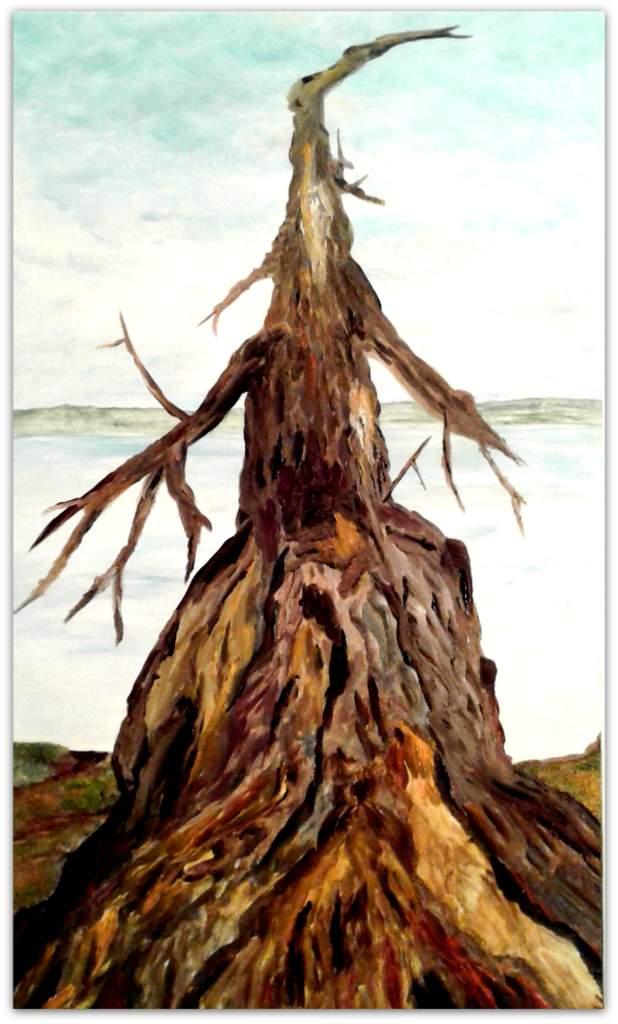 """Detlef Kapplusch, """"Winterpanorama Müggelsee I"""", 2017, Acrylmalerei auf Fliese, 30x46 cm"""