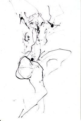 """Ingrid Bertel, """"Akt"""", Federzeichnung, 2012, 30x40 cm"""