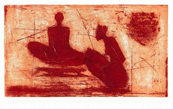 "Jutta Schölzel ""Begegnung"", 2020, Aquatinta, Platte 18x26,5 cm (mit Passepartout, 30X40cm), 120 €"