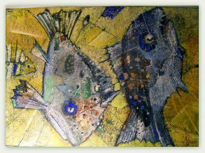 """Günter Kiefer-Lerch_Günter """"Fisch in Ordnung"""", 2000, Pastell, 70x50 cm"""